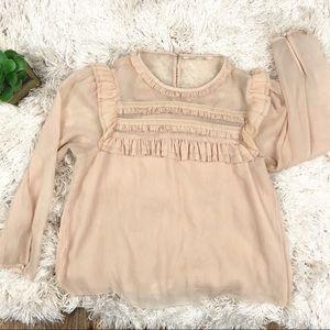 H&M | Blush Ruffled Peasant Blouse S